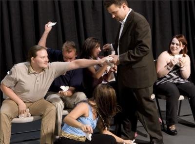 During Hypnosis Unleashed Hypnotized audience members let their imagination run wild