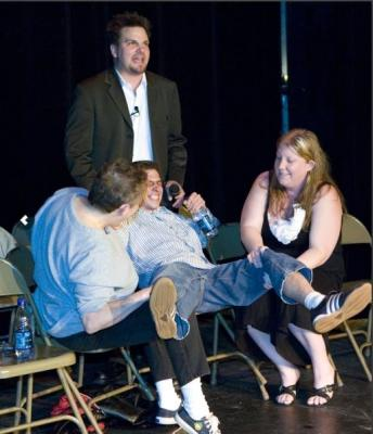 Hypnotized audience member at Hypnosis Unleashed thinks he in in labor