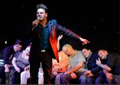 Hypnosis Unleashed star Kevin Lepine hypnotizing a group