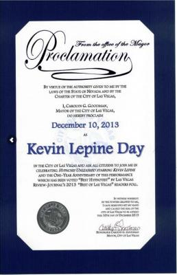 Comedy Hypnosis Show gets Dec 10th as Kevin Lepine Day in Las Vegas
