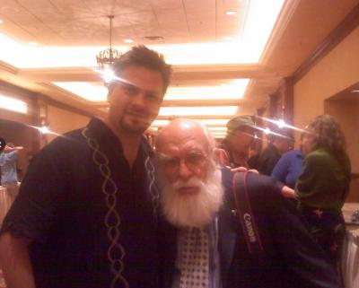 Comedy Hypnotist Kevin Lepine with magician James Randi