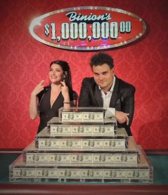 Las Vegas Comedy Hypnotists Kevin Lepine and Emily Lepine at the Million Dollars in Binions Gambling Hall