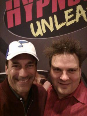Jon Hamm stops by Hypnosis Unleashed at Binions Gambling Hall in Las Vegas