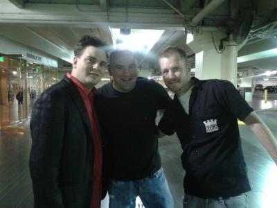 UFC President Dana White with Comedy Hypnosis Show Star Kevin Lepine and Purple Reign stage manager Kevin Hines